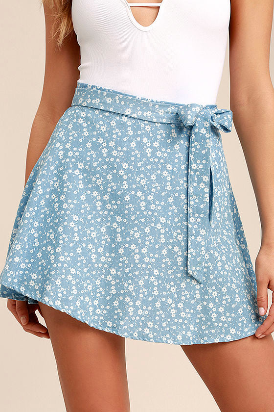 Put a Record On Light Blue Floral Print Wrap Skirt 5