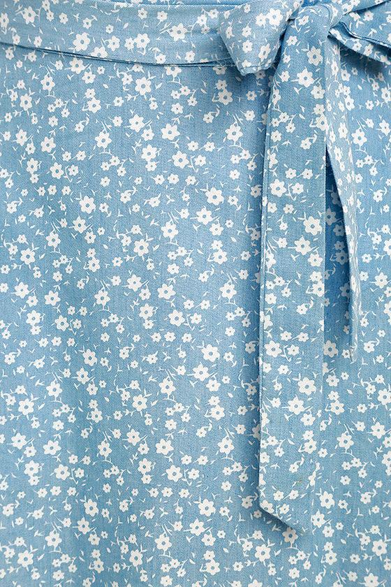 Put a Record On Light Blue Floral Print Wrap Skirt 6