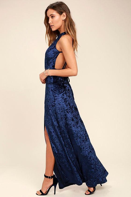 Sexy Navy Blue Dress - Velvet Dress - Maxi Dress - $39.00