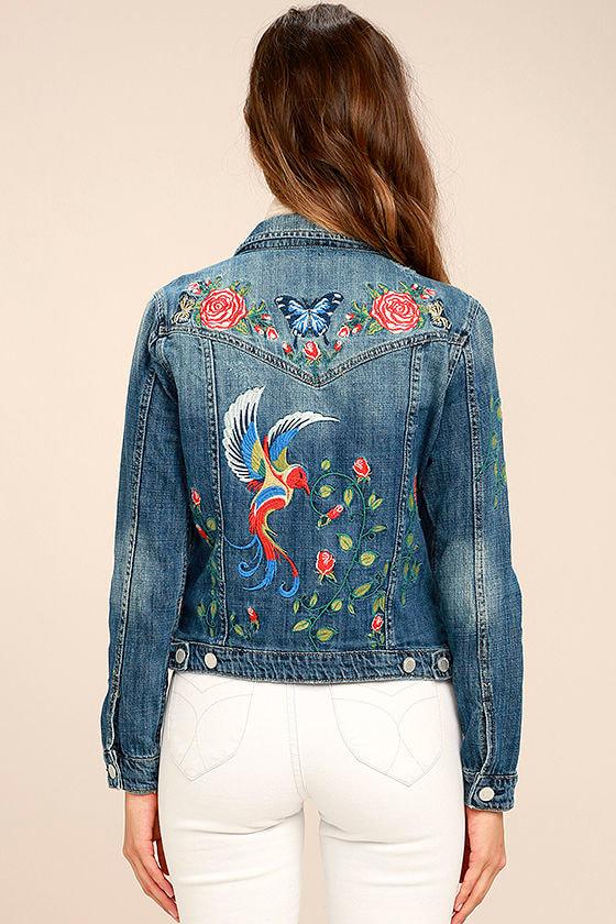 Blank NYC Embroidered Medium Wash Denim Jacket 4