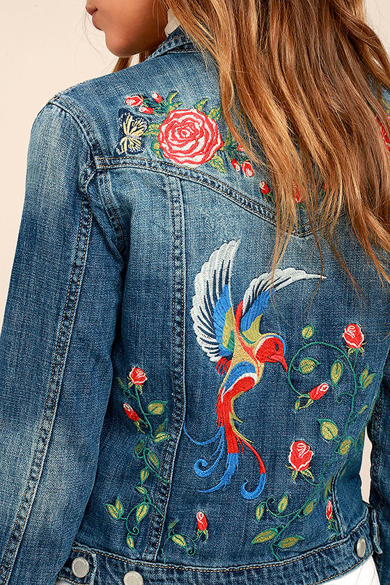 Blank NYC Embroidered Medium Wash Denim Jacket 5