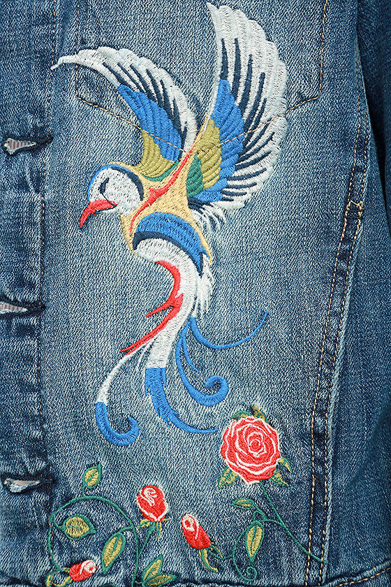 Blank NYC Embroidered Medium Wash Denim Jacket 6