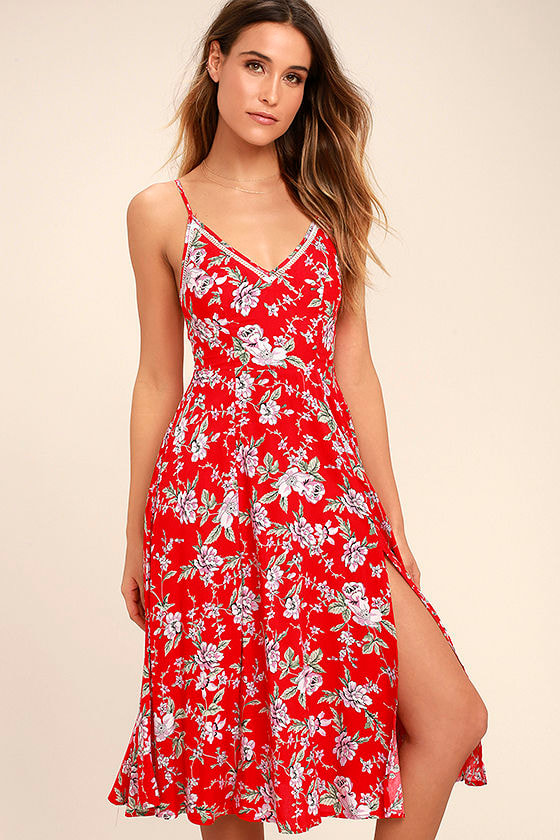 Lovely Red Floral Print Dress - Sleeveless Midi Dress - Red Midi ...