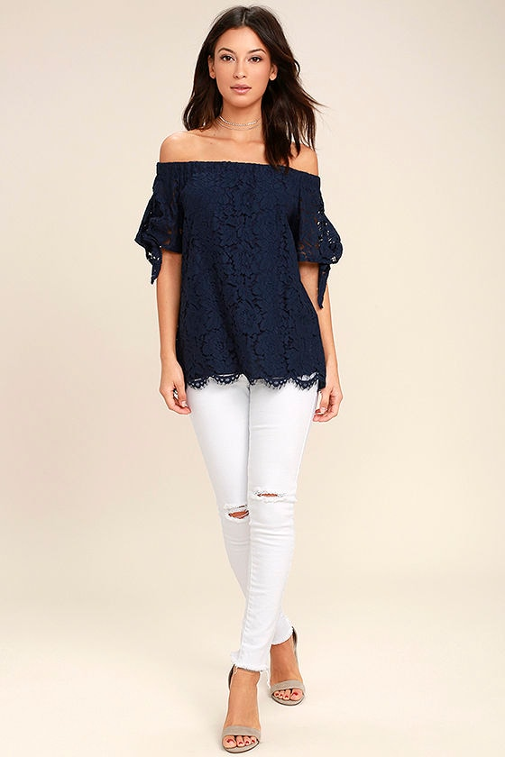 b151901a77e088 Lovely Navy Blue Top - Lace Top - Off-the-Shoulder Top -  42.00