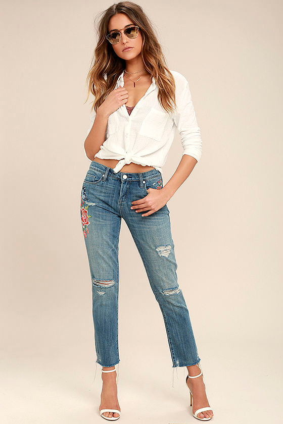 Blank NYC Crop Girlfriend Light Wash Embroidered Jeans 1