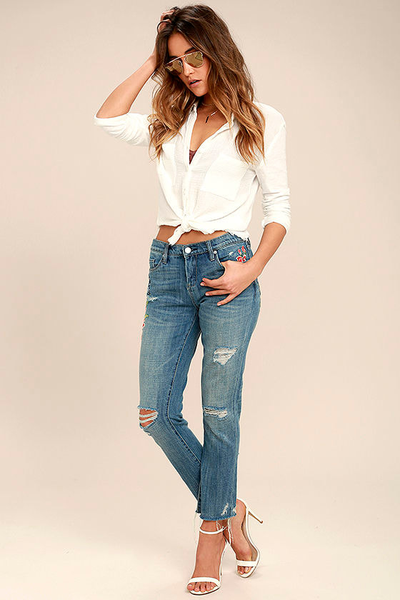 Blank NYC Crop Girlfriend Light Wash Embroidered Jeans 2