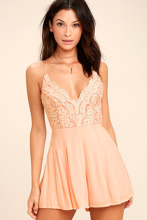 Star Spangled Blush Pink Backless Lace Romper 1