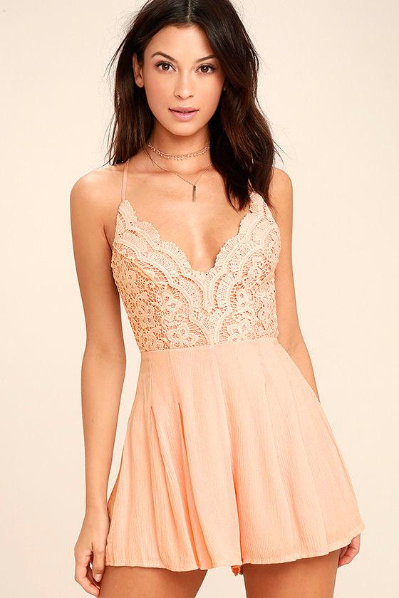 20bcb8e1d338 Blush Pink Romper - Lace Romper - Backless Romper -  49.00