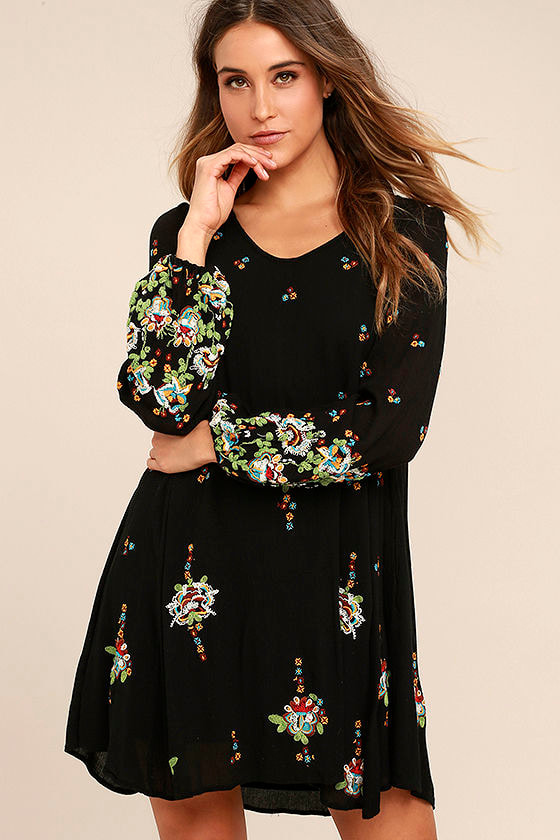 47a3a17ccc27 Free People Oxford - Black Dress - Embroidered Dress - Swing Dress