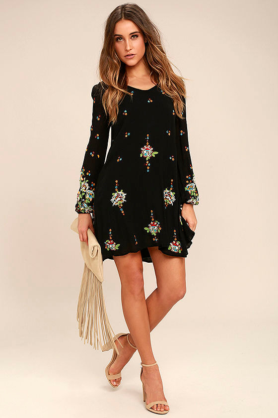 Free People Oxford Black Embroidered Swing Dress 2
