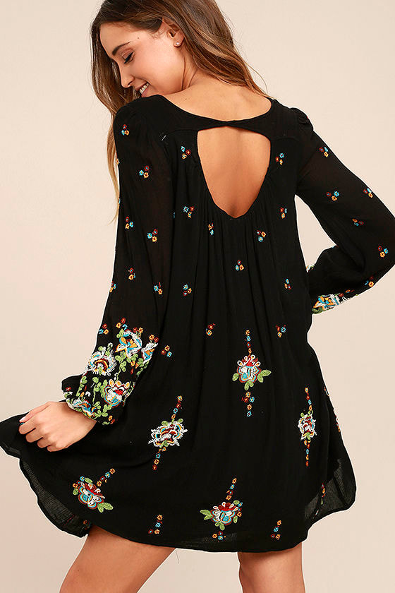 Free People Oxford Black Embroidered Swing Dress 3