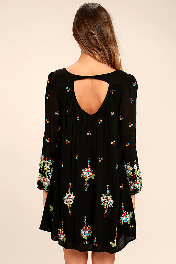 Free People Oxford Black Embroidered Swing Dress 4