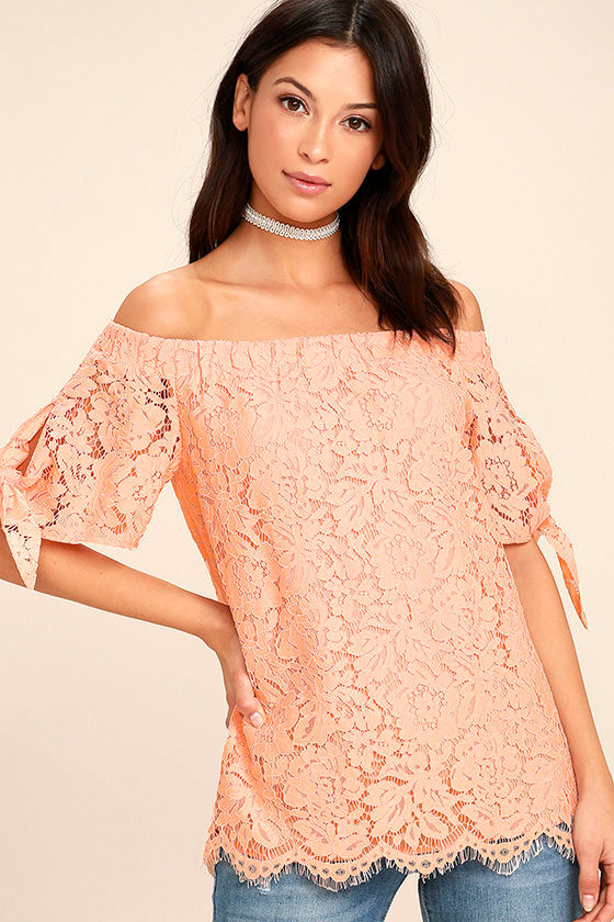 7b8844018a0f7 Lovely Peach Top - Lace Top - Off-the-Shoulder Top -  42.00