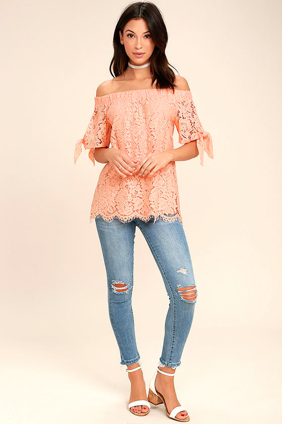 Ethereal View Peach Lace Off-the-Shoulder Top 2