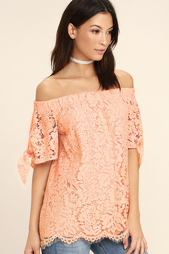 Ethereal View Peach Lace Off-the-Shoulder Top 3