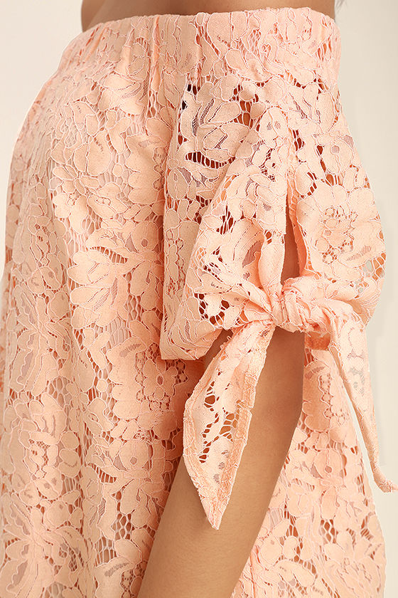 Ethereal View Peach Lace Off-the-Shoulder Top 6