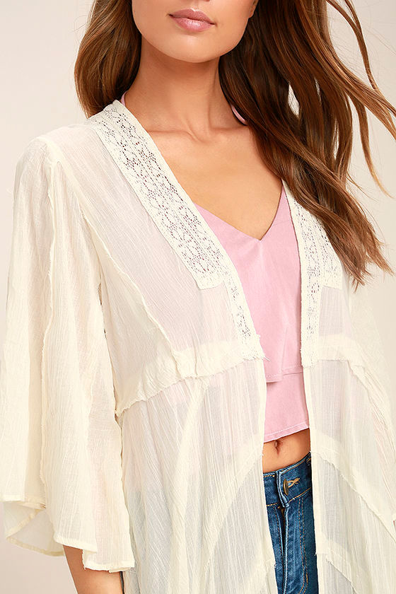 Free People Curved Cream Lace Kimono Top 5