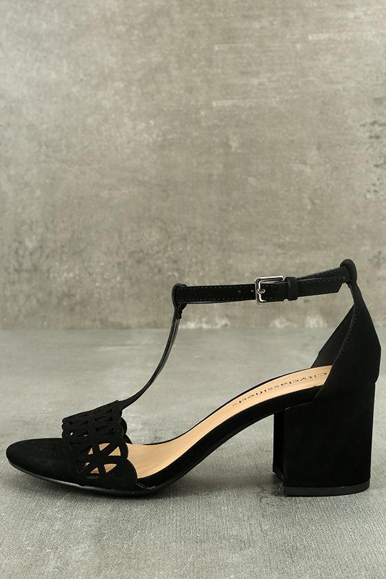 Janessa Black Nubuck T-Strap Heels 1