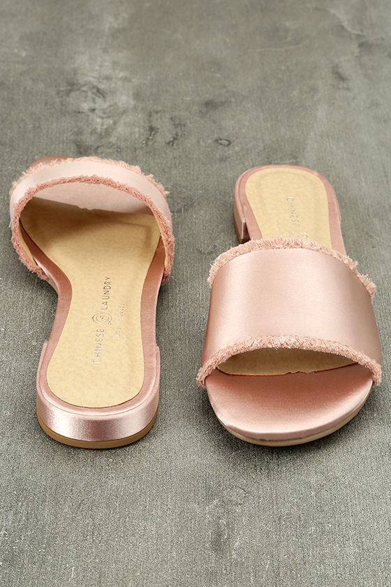 Chinese Laundry Pattie Summer Nude Satin Slide Sandals 3