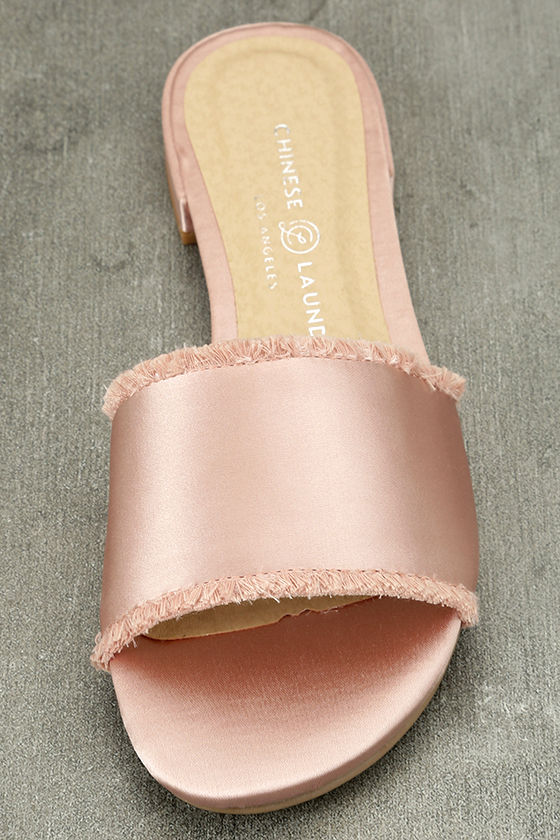 Chinese Laundry Pattie Summer Nude Satin Slide Sandals 5