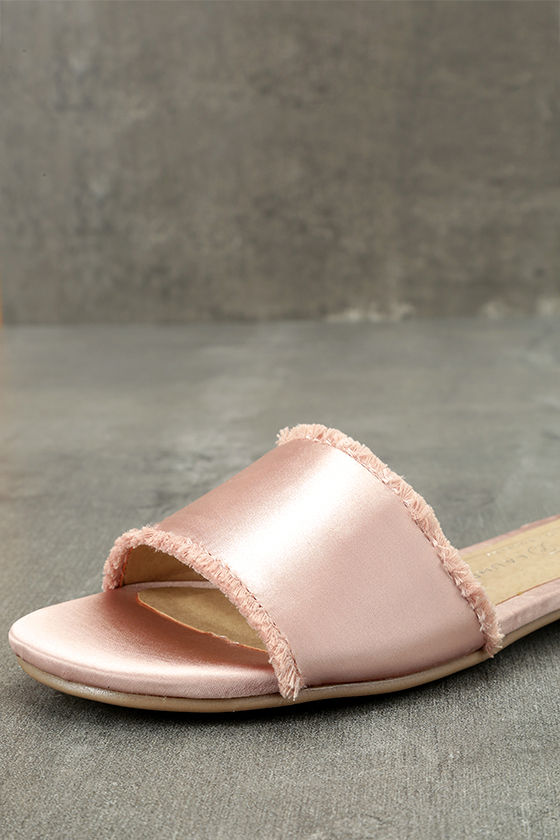 Chinese Laundry Pattie Summer Nude Satin Slide Sandals 6
