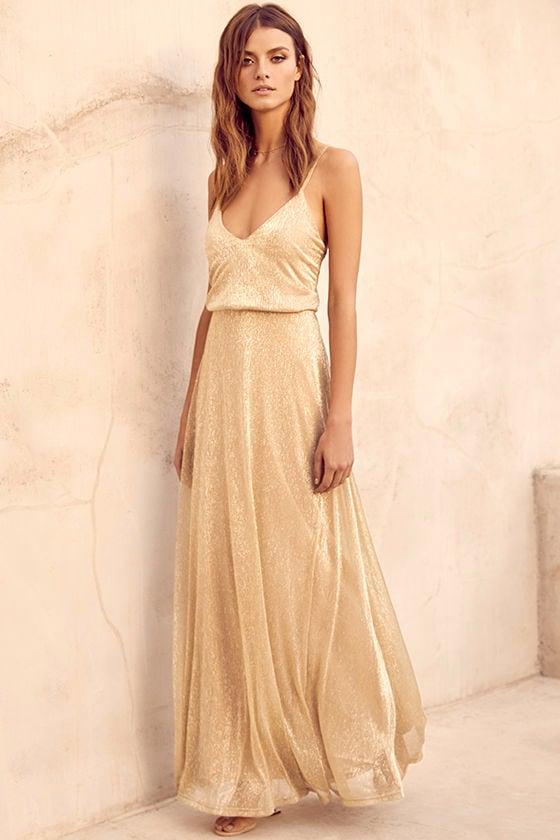 591fe7294e Lovely Gold Dress - Maxi Dress - Metallic Dress -  94.00