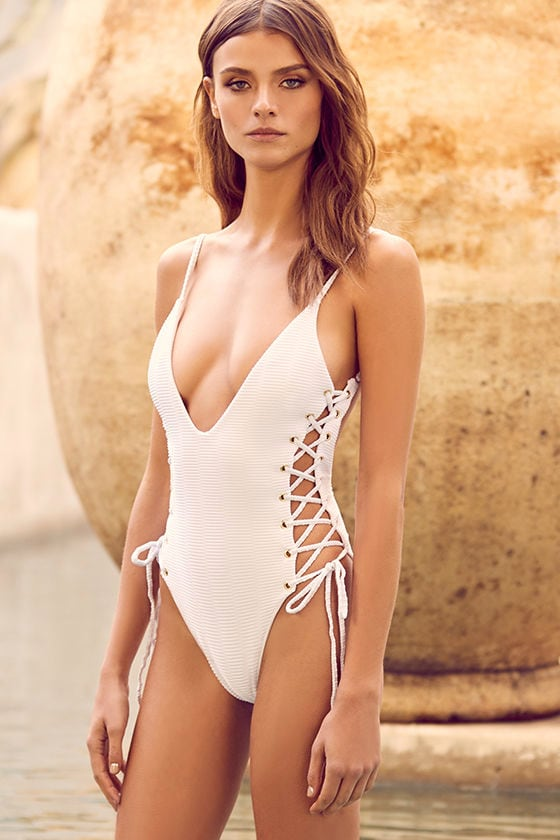 Blue Life Roped Up - White One Piece Swimsuit - Lace-Up Swimsuit ... d19a2fdc4de8