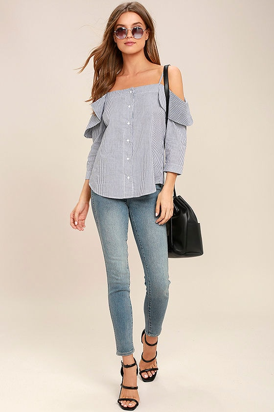 My Inspiration Grey Striped Off-the-Shoulder Top 2
