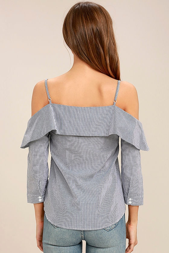 My Inspiration Grey Striped Off-the-Shoulder Top 4