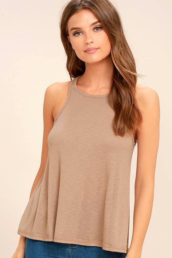 Free People LA Nite Light Brown Tank Top 1