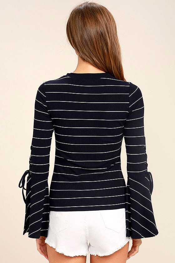 Found My Mate Navy Blue Striped Lace-Up Top 4