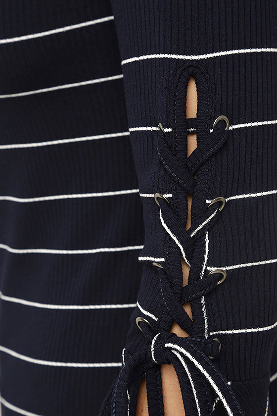 Found My Mate Navy Blue Striped Lace-Up Top 6