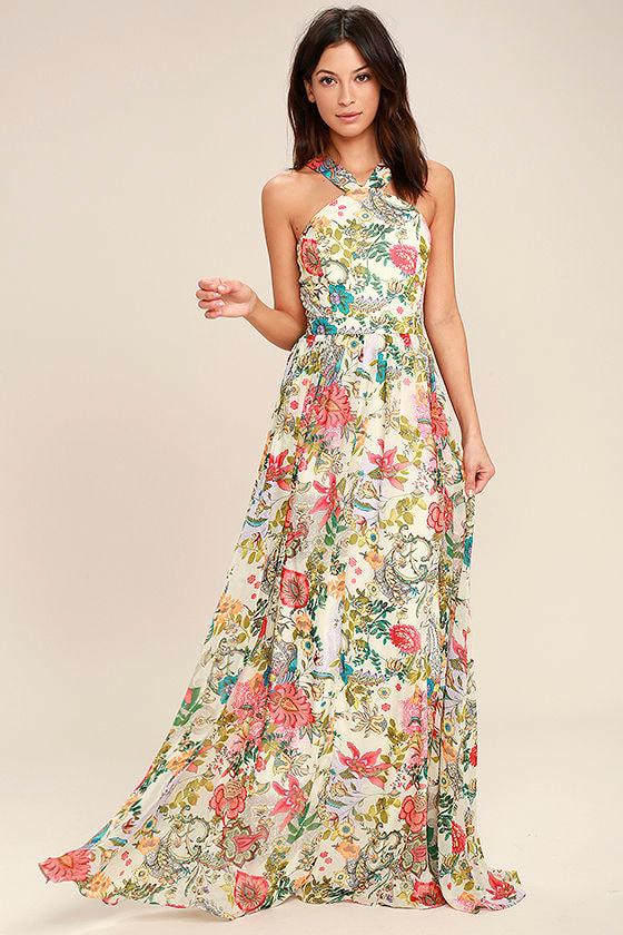 Lovely Cream Dress - Floral Print Dress - Maxi Dress - $84.00