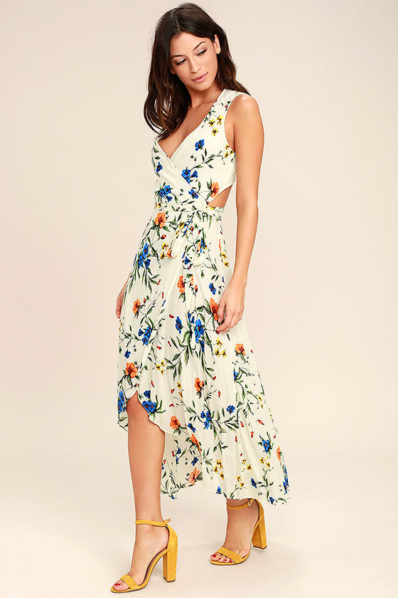 Something to Believe In Ivory Floral Print Wrap Dress 2
