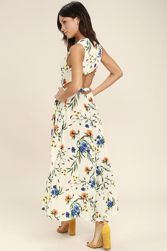 Something to Believe In Ivory Floral Print Wrap Dress 3