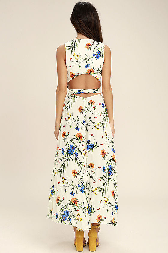 Something to Believe In Ivory Floral Print Wrap Dress 4
