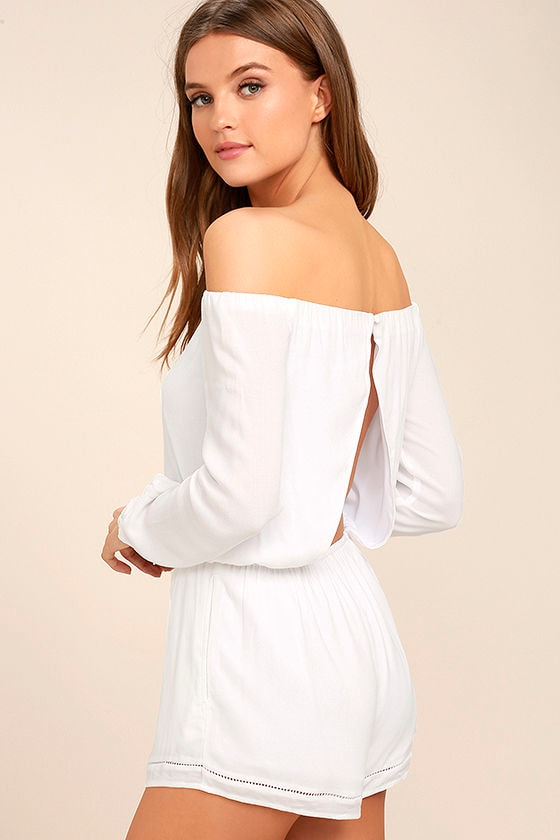 Tavik Carey White Off-the-Shoulder Romper 1