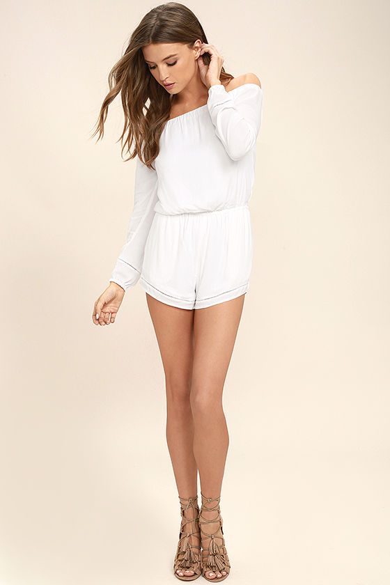Tavik Carey White Off-the-Shoulder Romper 2