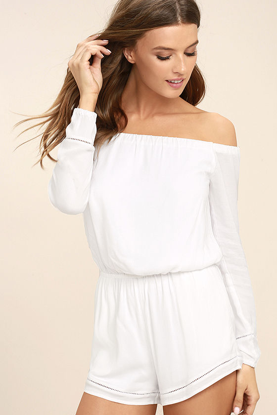 Tavik Carey White Off-the-Shoulder Romper 3