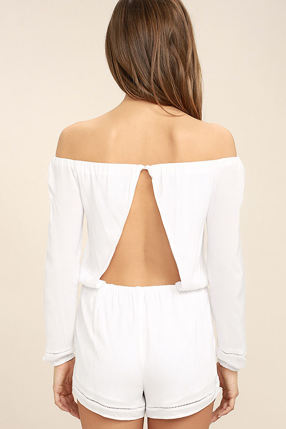 Tavik Carey White Off-the-Shoulder Romper 4