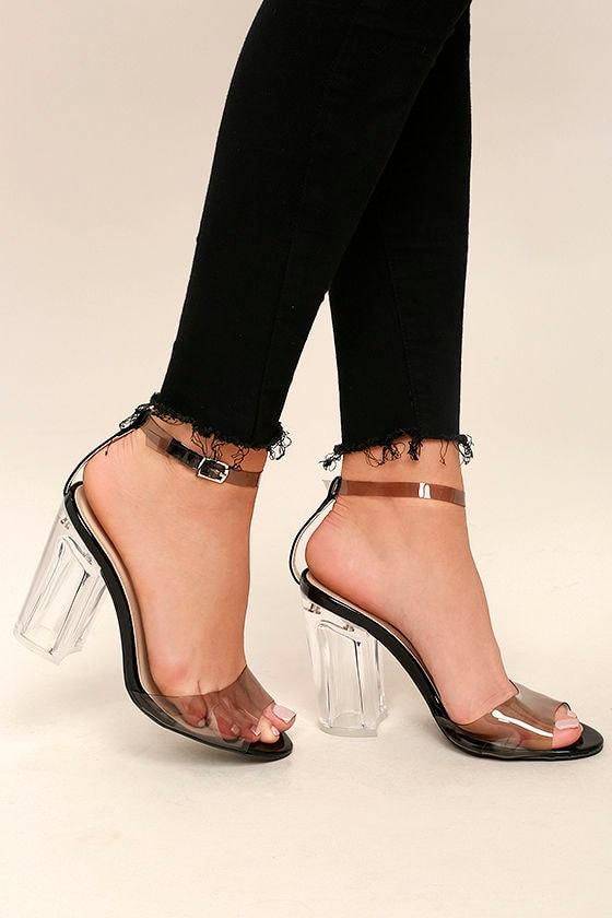 34303c4160d Hadlee Black Lucite Ankle Strap Heels