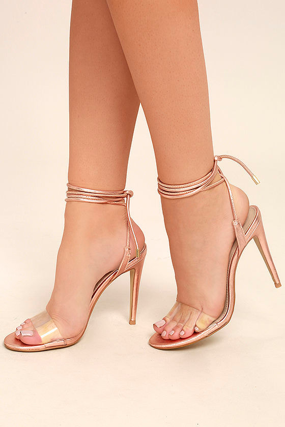 Steve Madden Lyla Heels - Rose Gold Heels - Lucite Heels - Lace-Up Heels -   99.00