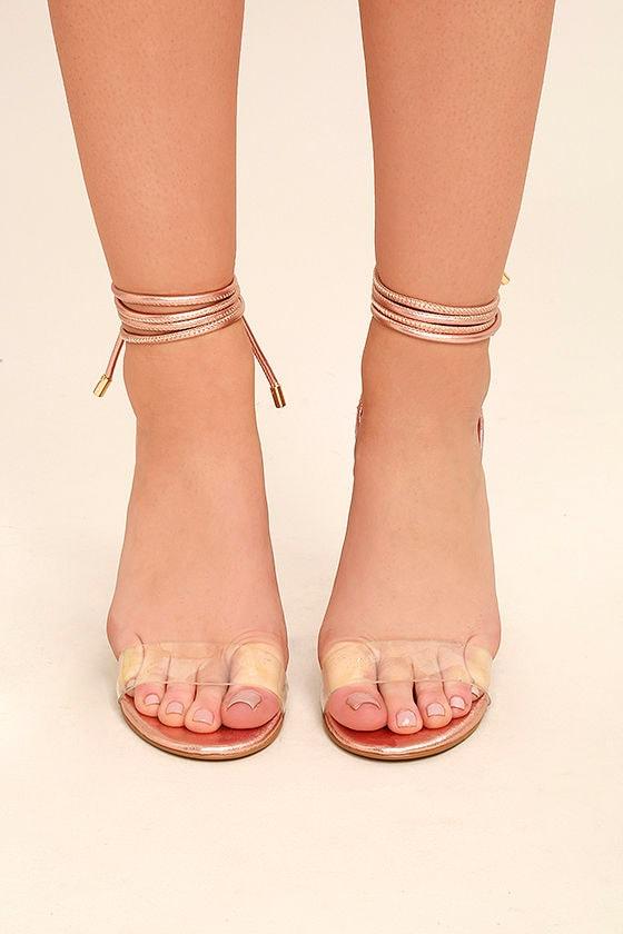 f7f925cfe2da Steve Madden Lyla Heels - Rose Gold Heels - Lucite Heels - Lace-Up ...