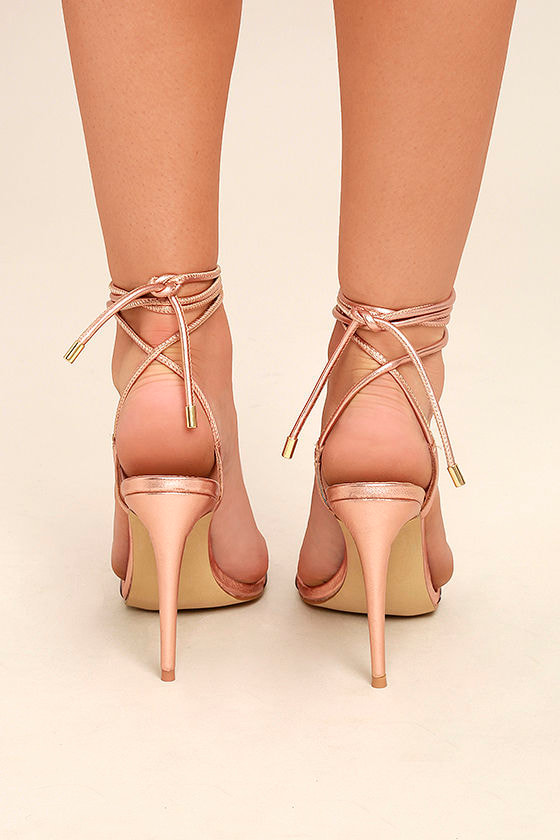 Steve Madden Lyla Rose Gold Leather Lucite Lace-Up Heels 4