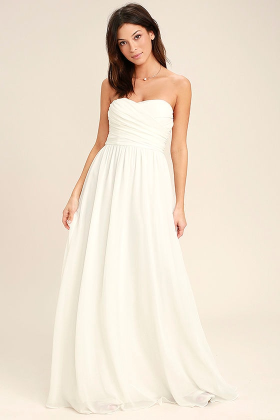 Love and Be Loved Ivory Strapless Maxi Dress 1
