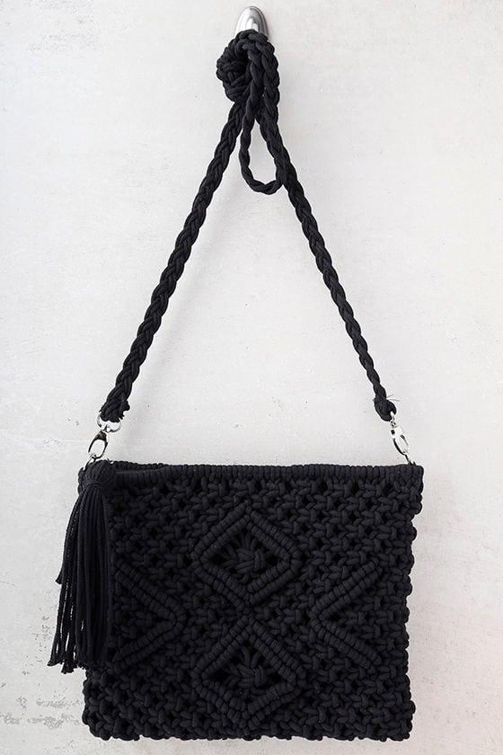 Kaia Black Crocheted Crossbody Purse 2