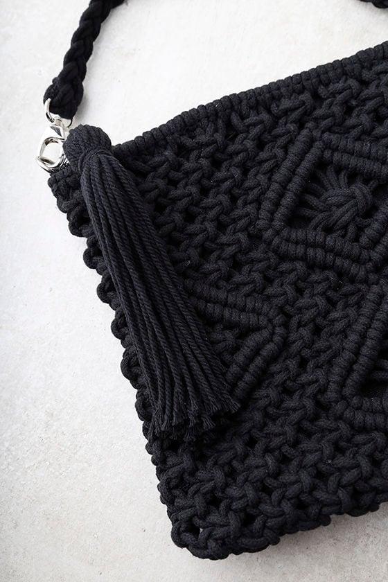 Kaia Black Crocheted Crossbody Purse 3