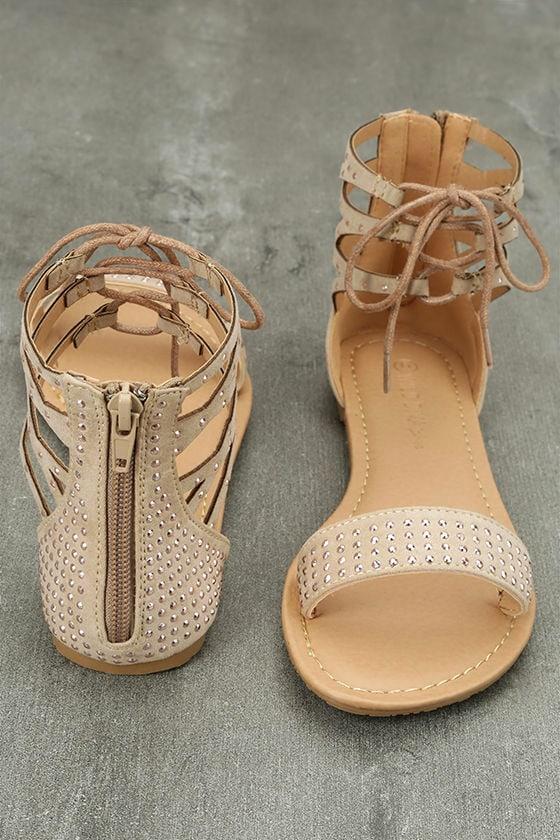 Clarinda Natural Rhinestone Lace-Up Sandals 3