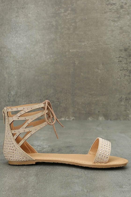 Clarinda Natural Rhinestone Lace-Up Sandals 4