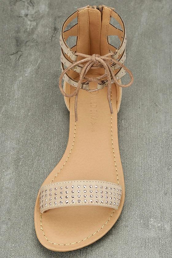 Clarinda Natural Rhinestone Lace-Up Sandals 5